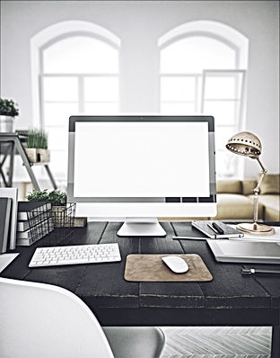 Stylish workspace with computer  on home