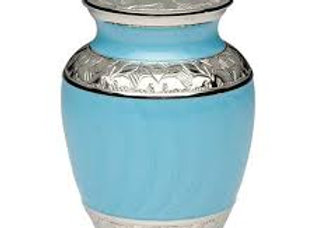 Turquoise Enamel and Silver Color Cremation Urn