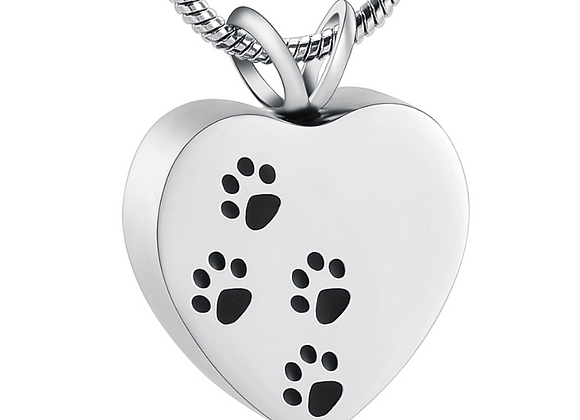 Paw Prints Cremation Urn Pendant with Chain