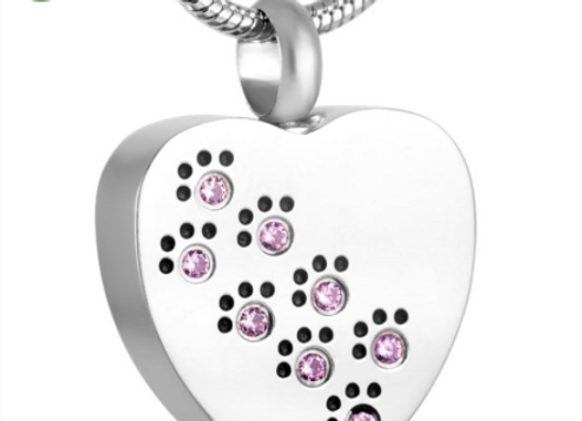 Pink Paw Pet Cremation Urn Pendant w/ Chain