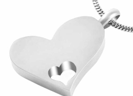 Heart with Little Heart Urn Pendant and Chain