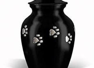 Black Classic Paw Print Vase Urn