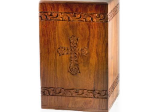 Hand-Carved Cross Urn