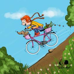 Kinderbuchillustration fahrradfahren