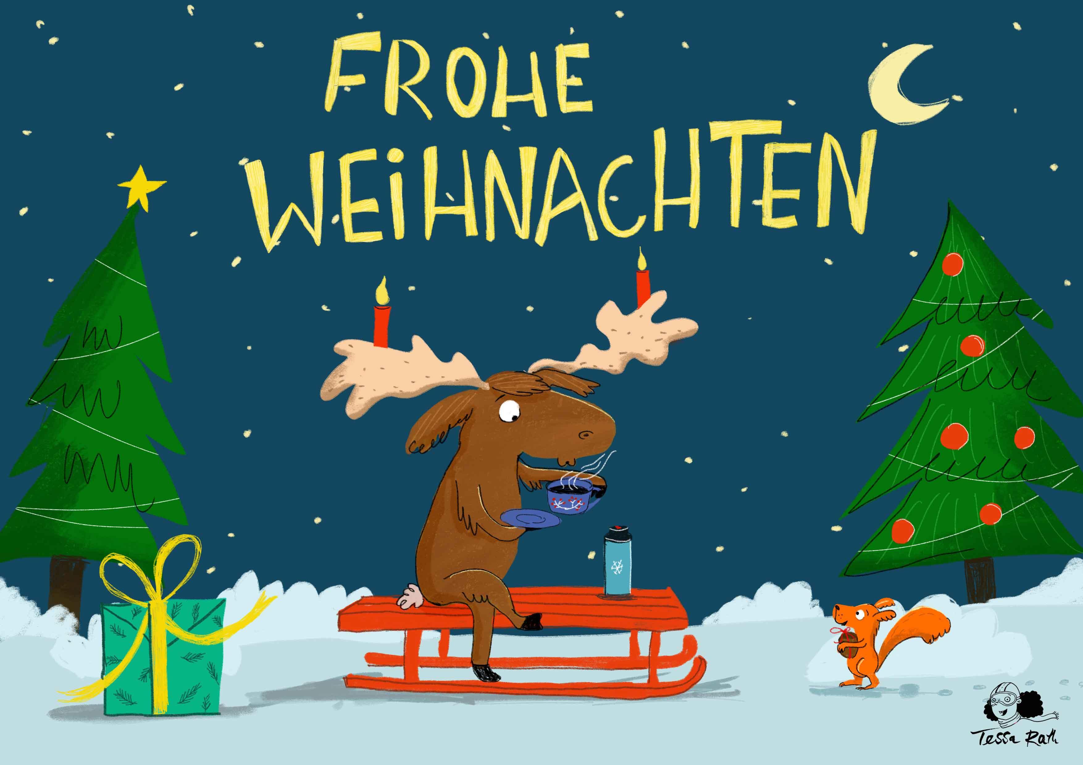 Weihnachtskarte-2019_elch-trinkt-tee_web