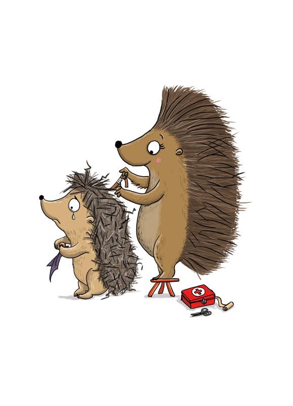 Igel weint- Kinderbuchillustration
