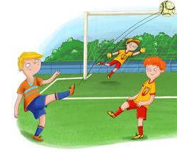 Fußball-Fußballspiel-Kinderbuchillustrat
