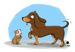 Hund-und-Hamster-Kinderbuchillustration
