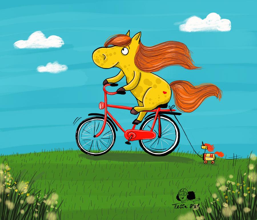 Pferd mit Rad Kinderbuchillustration