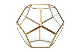 Gold hex vase for rental