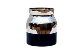 Silver and black vase for rental