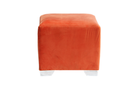 Orange ottoman for furniture rental