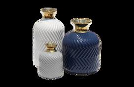 gold, grey and blue bottle vase set for furniture rental