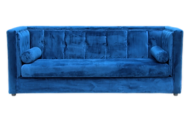 Blue couch for furniture rental