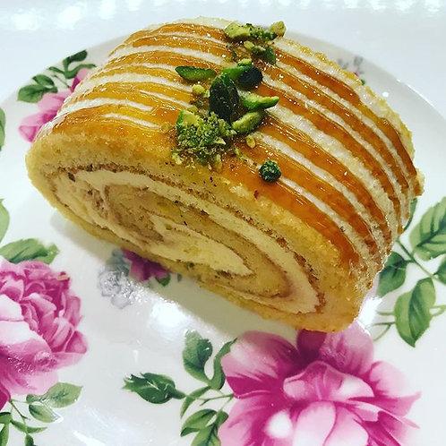 Caramel Pistachio Swiss Roll