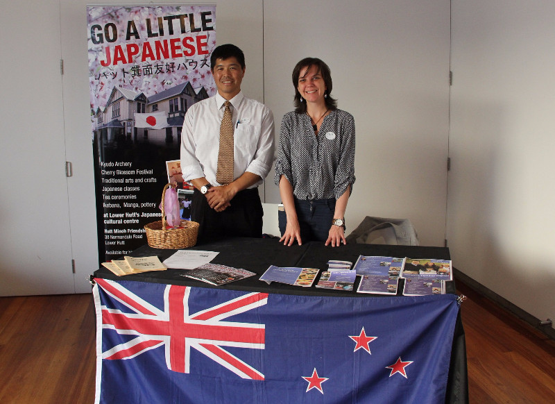 Active Wellington's booth at the Expo, with Active Wellington's Directors Daisuke Hayashi and Celine Ronze