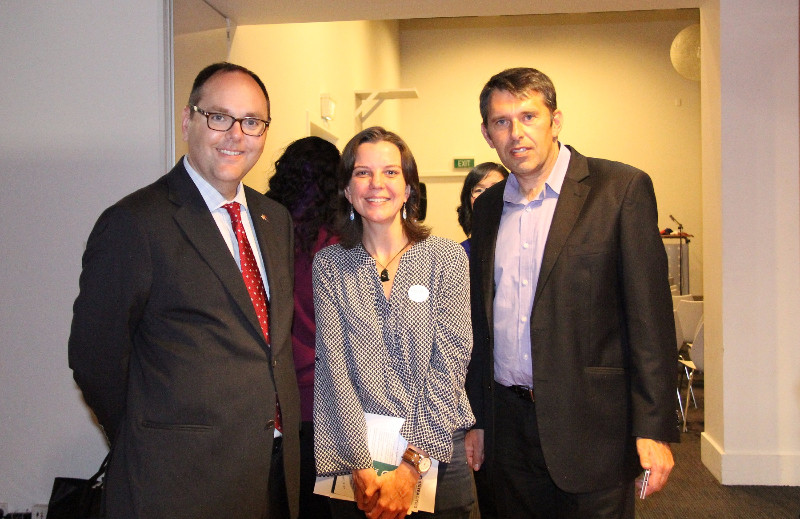 Active Wellington's Celine Ronze with the US Embassy's Public Affairs Officer, Robert Tate and Hutt City Councillor Michael Lulich