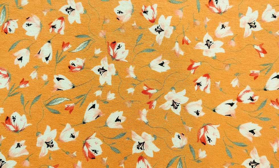 Viscose jersey yellow floral