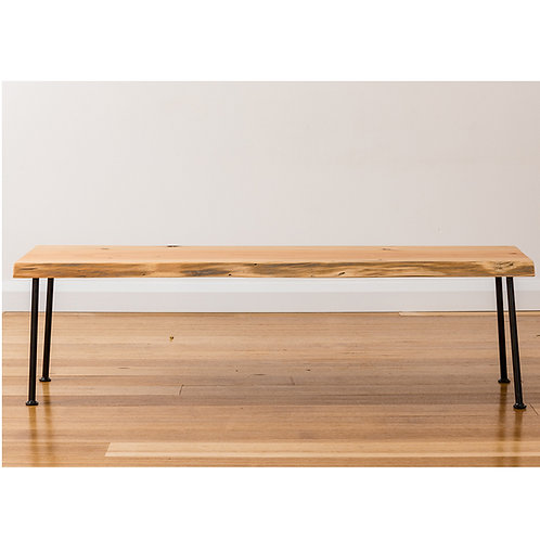 Lottie Bench seat - Natural Edge - Black legs