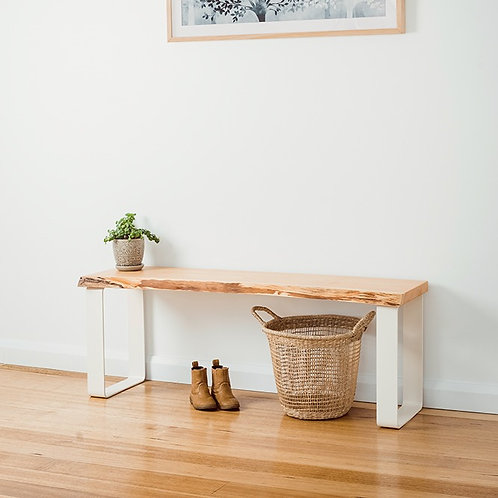 Estelle bench seat - Natural edge - White legs