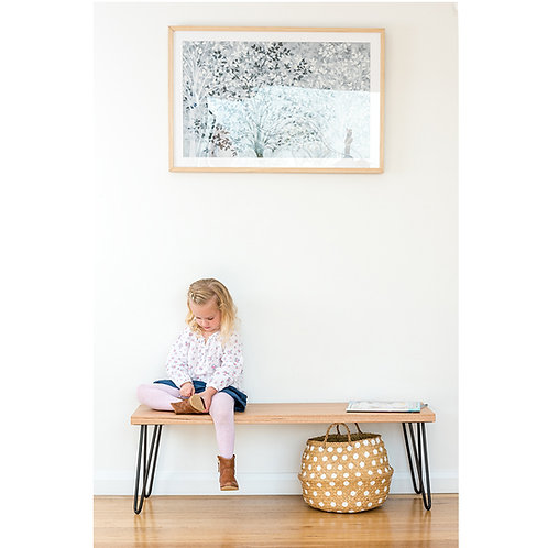 Molly Bench seat - Tasmanian Oak - Black legs