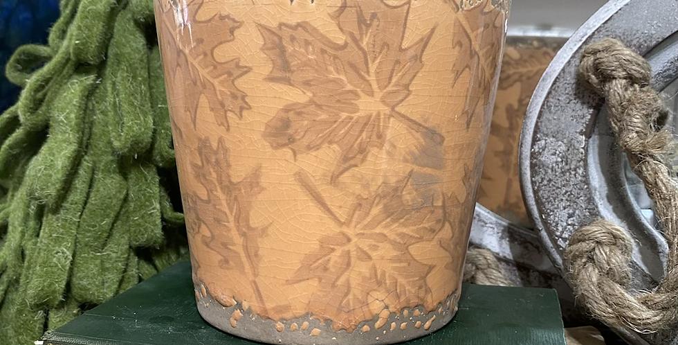 Burnt Orange Leaf Pot