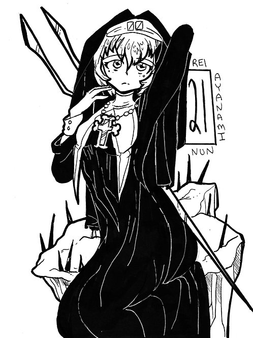 Rei Ayanami as a nun on bristol