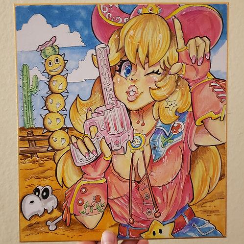 Princess Peach Cowgirl illustration on Board