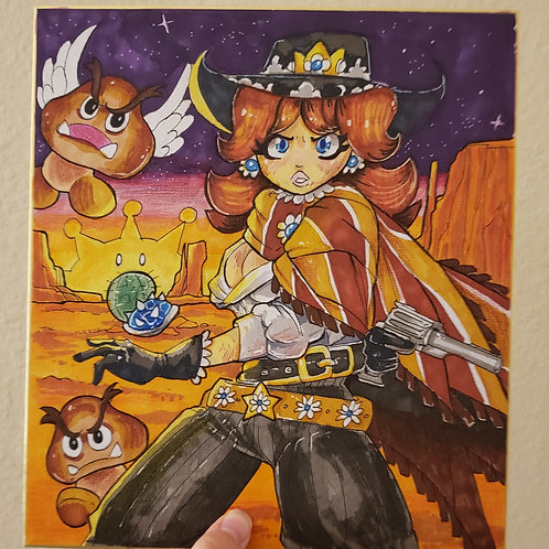 Princess Daisy Cowgirl illustration on Board
