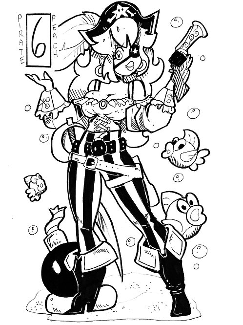 Princess peach as a pirate on bristol