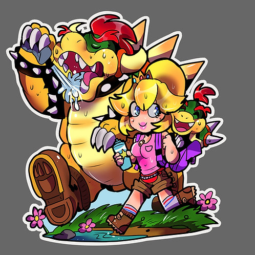 Bowser and peach family hike sticker