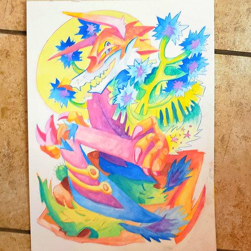 Joshua Tree Coyote Watercolor Painting