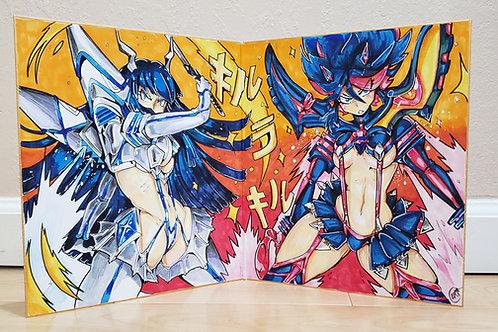 Ryuko and Satsuki ( Kill La Kill) on Folding Shikishi