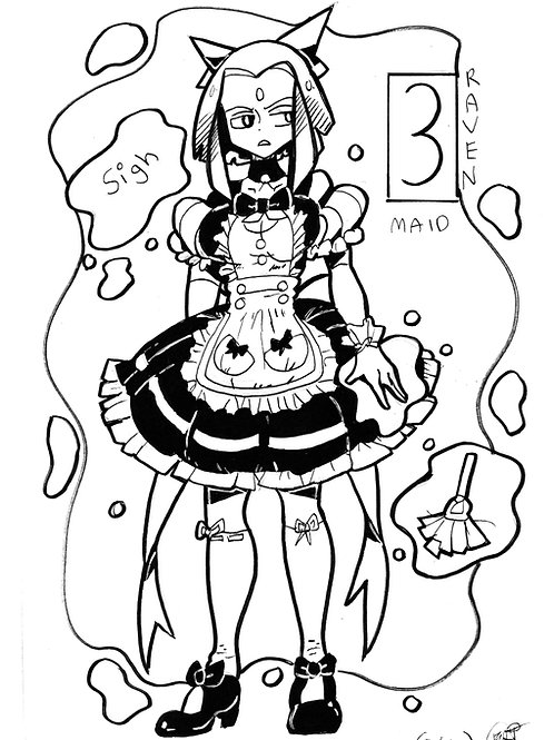 Raven as a maid on bristol