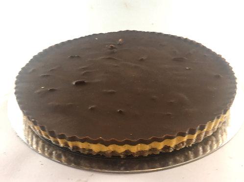 Pecan and pumpkin tart with chocolate ganache