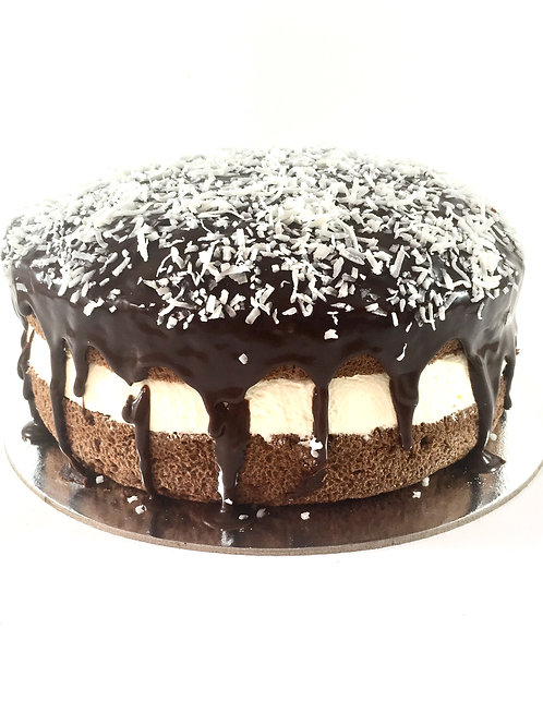 Chocolate sponge with ganache cream and coconut