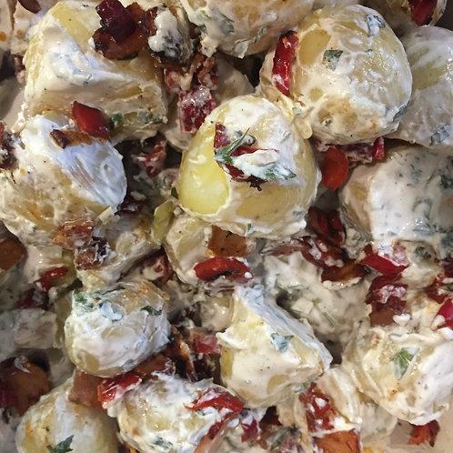 Creamy rich potato salad with crispy bacon