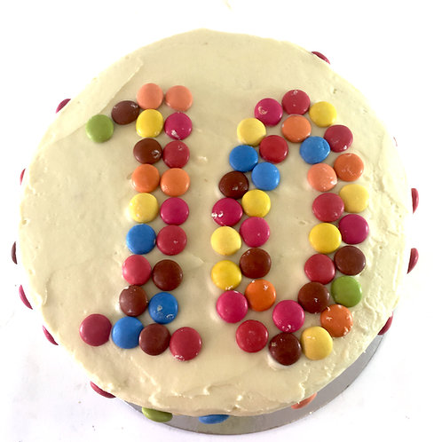 Smartie rainbow cake with feature birthday number