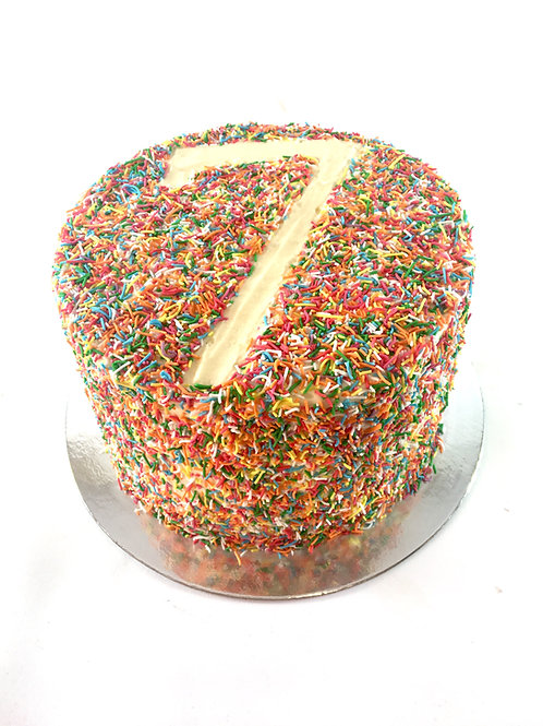 Sprinkle rainbow cake with birthday number