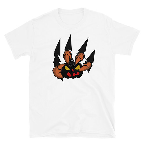 Werewolf claws appear to be pulled from a T-shirt and holding a pumpkin T-Shirt