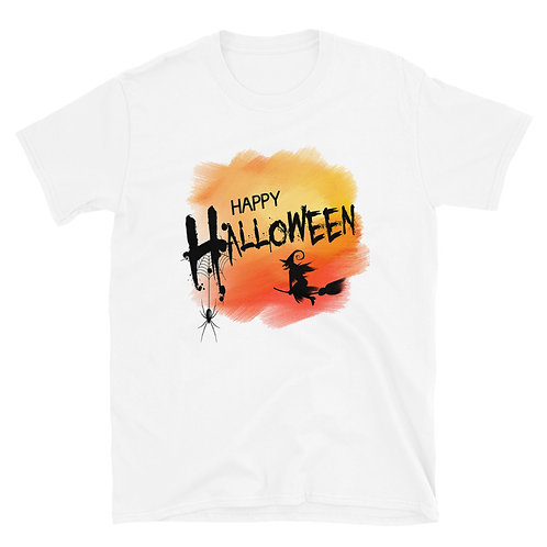 Happy Halloween phrase with a terrifying spider and witch, Halloween Day T-Shirt