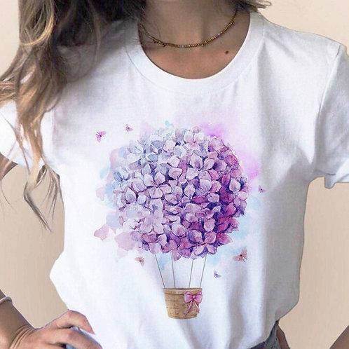 Women 2020 Summer Short Sleeve Floral Flower Fashion Lady T-Shirts