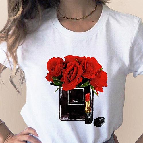 Women Clothes Print Flower Perfume Bottle Sweet Short Sleeve Tshirt
