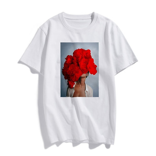 Fashion Nordic Art Sexy Red Flowers Harajuku Aesthetics T Shirt Women Vintage