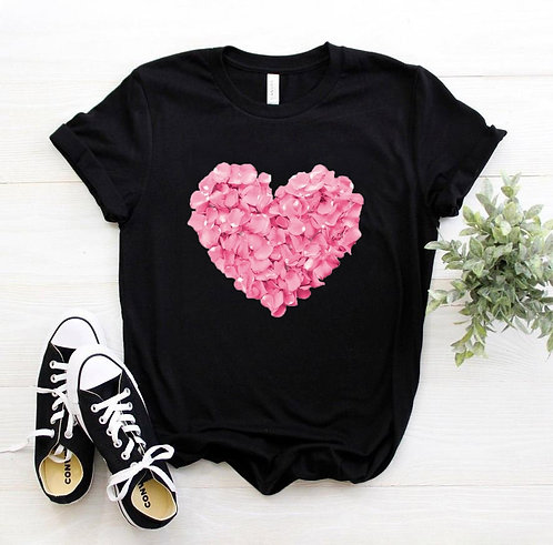 Pink Heart Flower Print Women Tshirt Cotton Casual Funny T Shirt Gift 90s Lady
