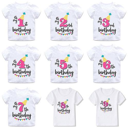 INPEPNOW Happy Birthday Child T-Shirt for Children Cotton Boys T Shirt White
