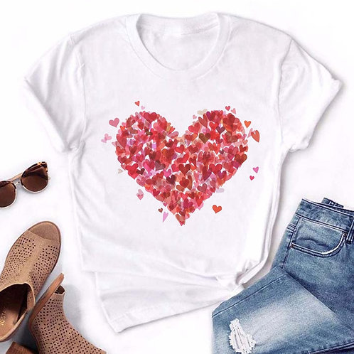 80s Vintage Aesthetic Heart Print T Shirt Women 2020 Summer Vogue Short Sleeve