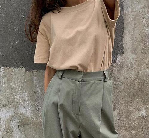 Hirsionsan Basic Cotton T Shirt Women Summer