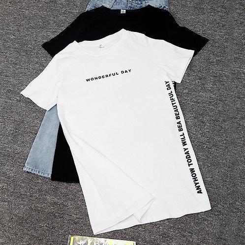 Nkandby Plus Size WONDERFUL DAY Print Long TShirts Summer Women Loose Slit Femme
