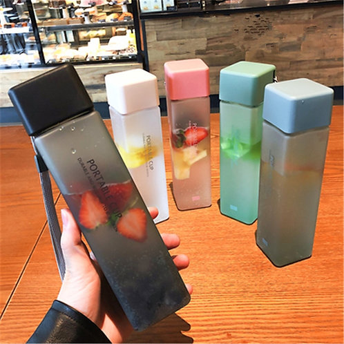 New Square Frosted Plastic Water Bottle Portable Transparent Bottle Fruit Juice